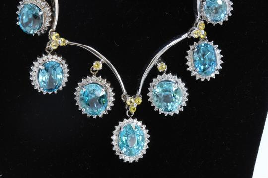 Dignity Jewels 39.66CT NATURAL BLUE ZICRON 14K WHITE GOLD NECKLACE Image 1