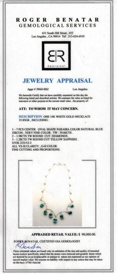 Dignity Jewels 39.66CT NATURAL BLUE ZICRON 14K WHITE GOLD NECKLACE Image 2
