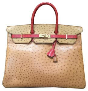 Herms Birkin Ostrich Tri-color Tote in Tri-color. Cognac, Rouge Vif, Saffron