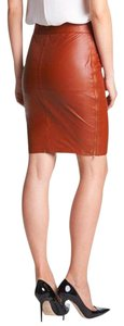 Trina Turk Leather Dual Zip Skirt Cognac