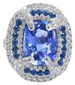 Dignity Jewels GIA 8.77CT NATURAL BLUE CEYLON SAPPHIRE 18K W/G RING