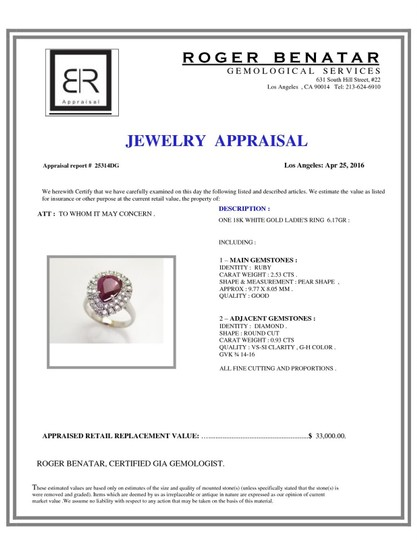 Dignity Jewels GIA 2.53CT NATURAL RUBY 18K WHITE GOLD RING Image 2