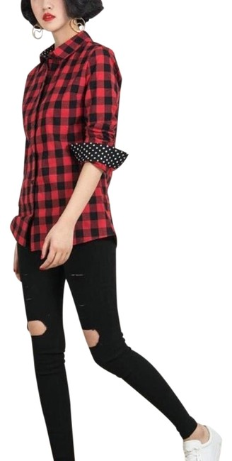 Preload https://img-static.tradesy.com/item/20193048/choies-red-black-shirt-with-polka-dot-details-on-sleeves-and-collar-button-down-top-size-12-l-0-2-650-650.jpg