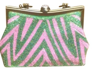 Salmon Pink and Candy Apple Green Clutch