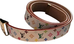 Louis Vuitton LV white multi color belt