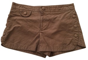 Marc by Marc Jacobs Pinstriped Scalloped Scalloped Hem Stretchy Menswear Inspired Dress Shorts Brown