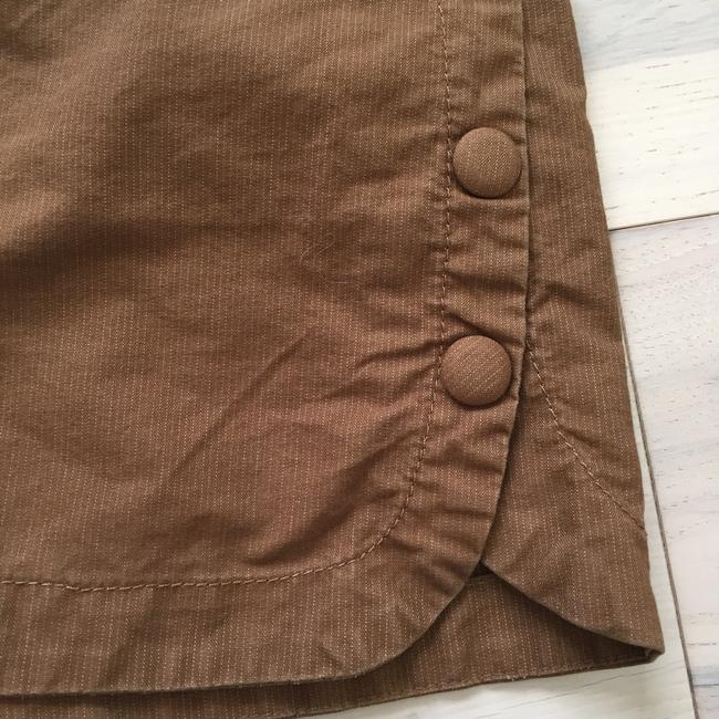 Marc by Marc Jacobs Pinstriped Button Scalloped Scalloped Hem Stretchy Menswear Inspired Dress Shorts Brown Image 1