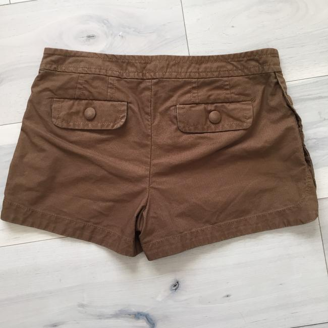 Marc by Marc Jacobs Pinstriped Button Scalloped Scalloped Hem Stretchy Menswear Inspired Dress Shorts Brown Image 2