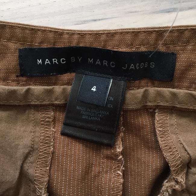 Marc by Marc Jacobs Pinstriped Button Scalloped Scalloped Hem Stretchy Menswear Inspired Dress Shorts Brown Image 3
