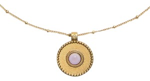 Tory Burch NEW Tory Burch Pink Stone Coin Pendant Necklace