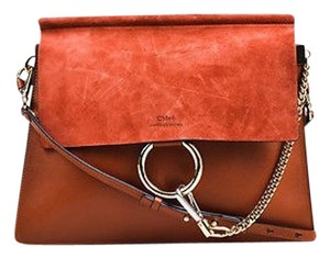 Chloé Chloe Medium Faye Burnt Leather Suede Chain Link Two Way Shoulder Bag