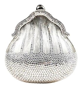Judith Leiber Tone Crystal Encrusted Shell Minaudiere Silver Clutch
