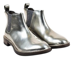 Brunello Cucinelli Metallic Leather Ankle Silver Boots