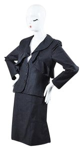 Valentino Valentino Charcoal Gray Wool Ruffle Trim Button Jacket Skirt Set