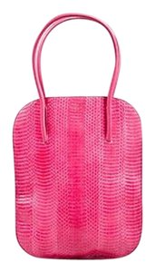 Nina Ricci Snakeskin Elongated Flat Irrisor Tote in Pink