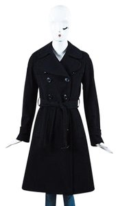 Burberry London Wool Cashmere Double Breasted Belted Trench Trench Coat