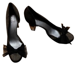 Simply Vera Vera Wang Never Worn Bow Clear Chunky Charcoal Pumps