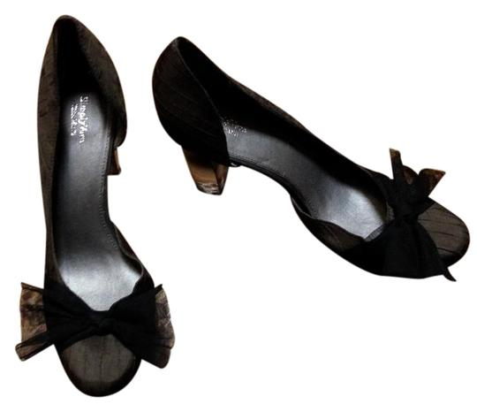 Simply Vera Vera Wang Never Worn Bow Clear Chunky Charcoal Pumps Image 0