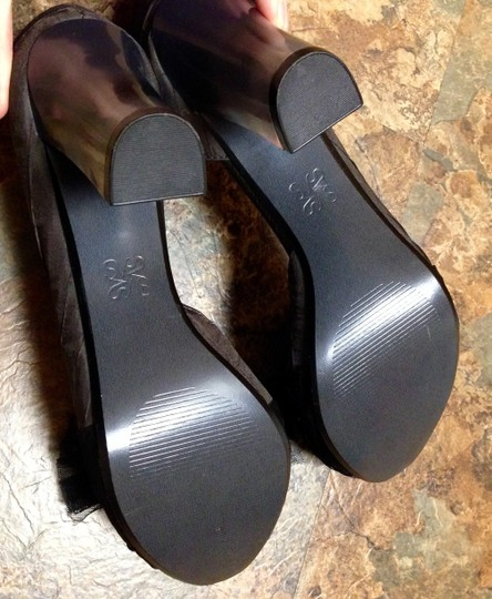 Simply Vera Vera Wang Never Worn Bow Clear Chunky Charcoal Pumps Image 7