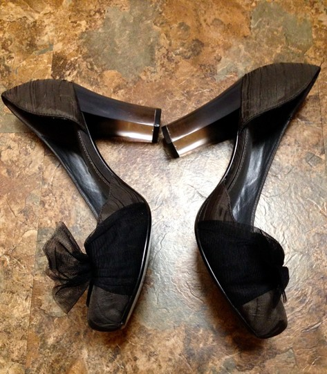 Simply Vera Vera Wang Never Worn Bow Clear Chunky Charcoal Pumps Image 8