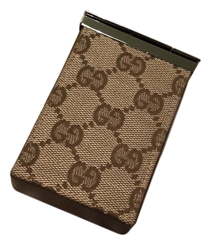 brand new 5f600 fe765 Gucci Brown Leather Monogram Cigarette Case Wallet 25% off retail