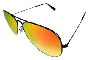 Ray-Ban Aviator - Black Metal & Mirrored Sunglasses Unisex