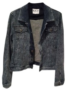 Andrew Marc Cotton Distressed Denim French Terry Navy Womens Jean Jacket