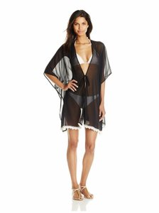 Jessica Simpson JESSICA SIMPSON FLOWER POWER CROCHET TRIM KIMONO COVER UP BLACK XL