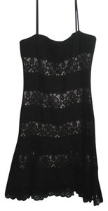 Maggy London short dress black/pink Lace Linen on Tradesy