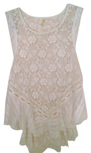Free People Lace Sheer Boho Top white
