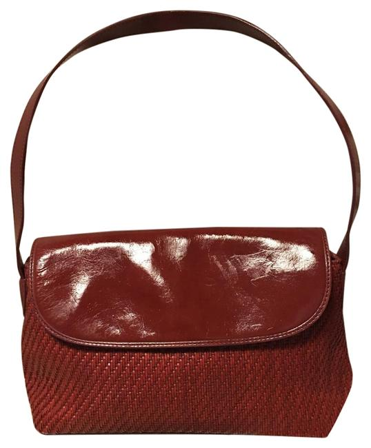 """Item - Snap Front Closure 9"""" Drop Red Leather Woven Hobo Bag"""