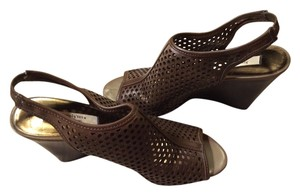 Vera Wang Mesh Summer 4.5 Wedge Heels Small Heels Womens Designer Brown Sandals