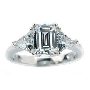2ct Emerald cut & trillion 925 CZ engagement ring