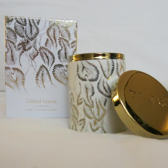 D.L.& Co. White Soleil Candle - Gilded Leaves Rare Botanic Candle Image 3
