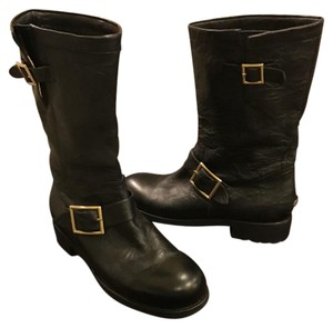 Jimmy Choo Motorcycle Youth Booths Black Boots