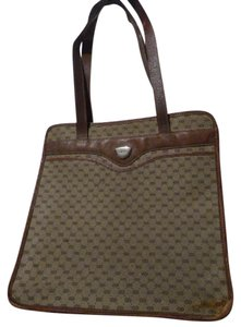 Gucci Perfect Size Exterior Pocket Great Everyday Good Vintage Tote in small G logo print canvas & leather in shades of brown