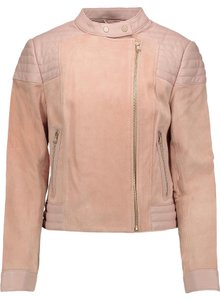 J Brand Suede Pink Biker Rose Cloud Leather Jacket
