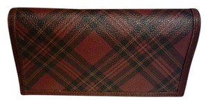Polo Ralph Lauren Vintage Tartan Leathe Red Plaid Wallet Clutch