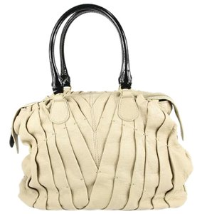 Valentino Leather Pleated Satchel in beige