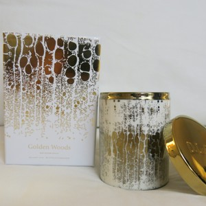 D.L.& Co. White & Gold Soleil Candle - Golden Woods Rare Botanic Candle Other