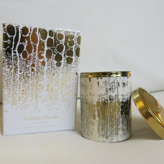 D.L.& Co. White & Gold Soleil Candle - Golden Woods Rare Botanic Candle Other Image 3