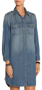 Current/Elliott short dress Denim Chambray Shirt Epaulettes Above Knee on Tradesy