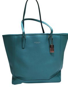 Coach Saffiano Leather Summer Spring Silver Hardware Tote in Turquoise