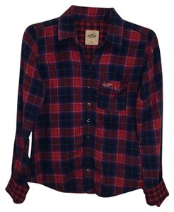 Hollister Button Down Shirt Red with shades of blue