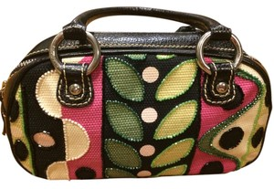 Isabella Fiore black with green, pink and white design Clutch