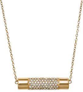 Michael Kors 2 piece set- Gold-Tone Crystal Cylinder Pendant Necklace & Crystal Cylindrical Stud Earrings