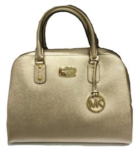 Michael Kors Leather Saffiano Satchel in Pale Gold