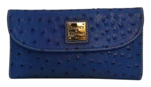 Dooney & Bourke Leather Ostrich Embossed Blue Clutch