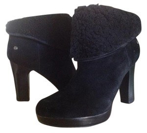 UGG Australia Genuine Shearling Heeled Black Suede Boots