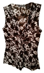 Liz Claiborne Sleeveless Draped Top Brown/Black/Ivory Print